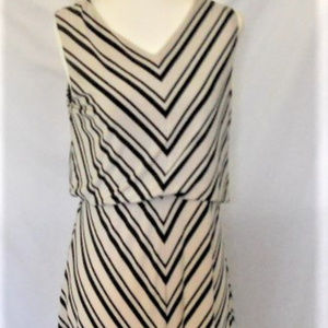 Dress Long Sleeveless A-Line Diagonal Stripe